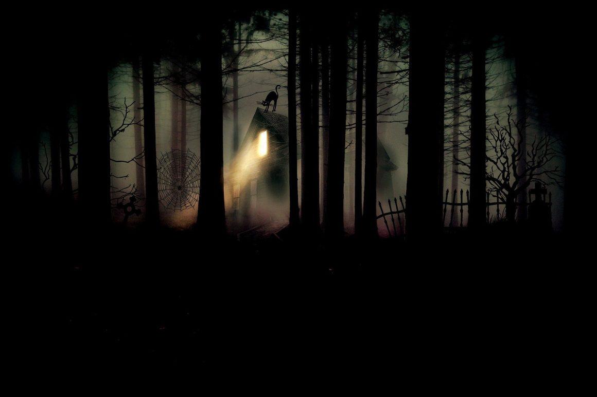 maison isolée dans une forêt lugubre