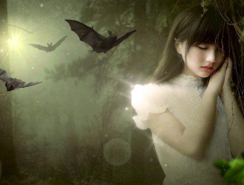 Jeune fille dans les bois