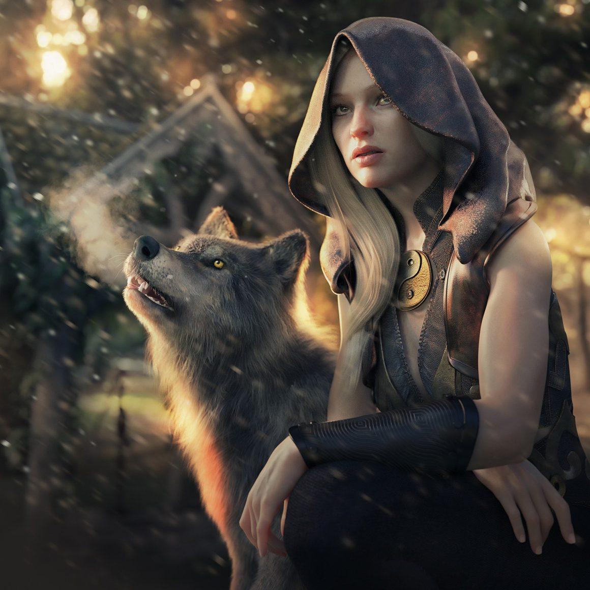 Jeune fille avec un loup