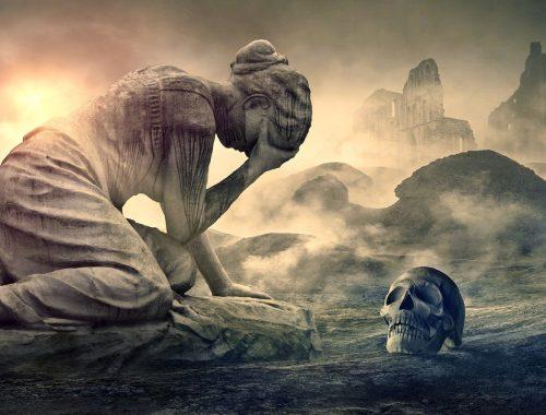 Scène déchirante d'une femme en deuil